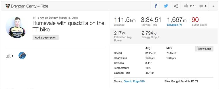 My biggest ride on the TT bike, 111.5km